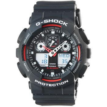 CASIO 卡西歐G-SHOCK 雙顯鬧鈴電子錶-黑紅 / GA-100-1A4