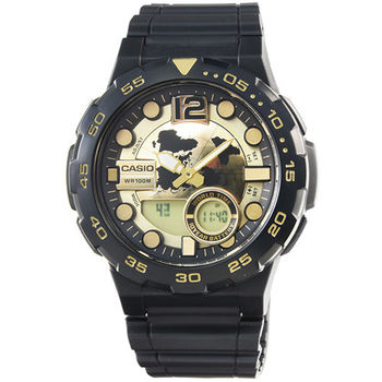 CASIO 卡西歐雙顯多時區電子膠帶錶-金 / AEQ-100BW-9A (台灣公司貨)