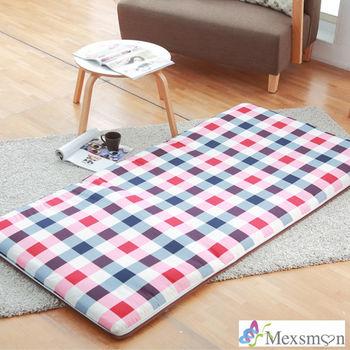 【Mexsmon美思夢】英倫格紋冬夏兩用青白鋪棉床墊5X6尺雙人-紅