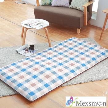 【Mexsmon美思夢】英倫格紋冬夏兩用青白鋪棉床墊3X6尺單人-藍