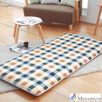 【Mexsmon美思夢】英倫格紋冬夏兩用青白鋪棉床墊3X6尺單人-咖啡