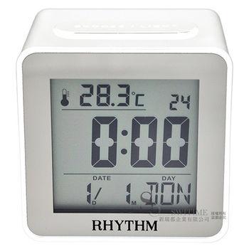 【RHYTHM日本麗聲】簡約時尚LED夜燈液晶電子鐘鬧鐘(簡約白)