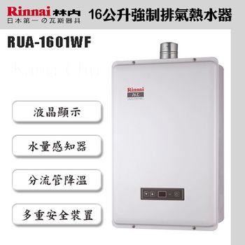 林內牌RUA-B1601WF(NG2/FE式)16L數位恆溫強制排氣熱水器(嘉義以南)-天然瓦斯