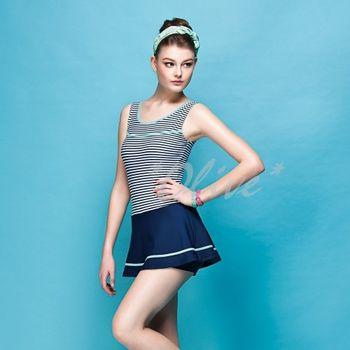 【蘋果牌】經典條紋款式時尚連身褲裙泳裝NO.105435(現貨+預購)
