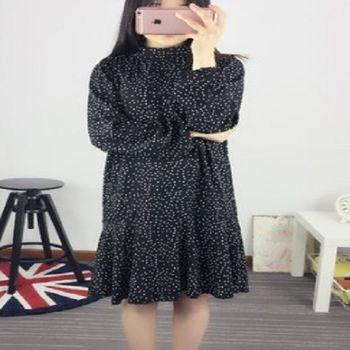 [協賀]波點百褶雪紡連衣裙