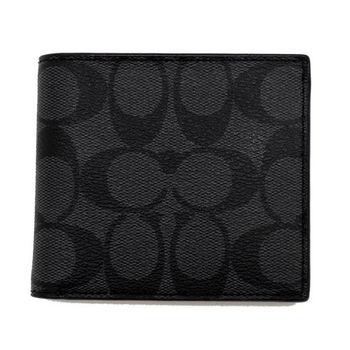 COACH75006黑灰PVC四卡零錢袋男短夾