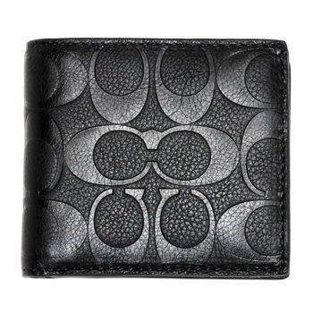 COACH75005黑皮LOGO壓印四卡層零錢袋男短夾