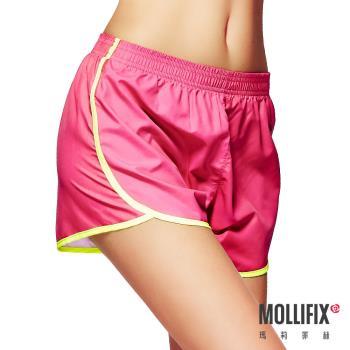 【Mollifix】絕對好動撞色運動短褲 (桃紅)