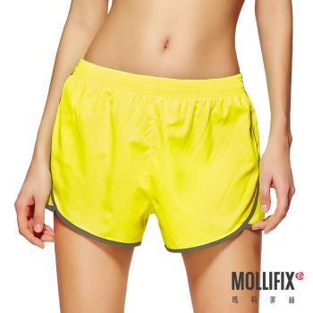 【Mollifix】絕對好動撞色運動短褲 (螢光黃 )