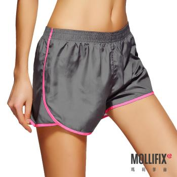 【Mollifix】絕對好動撞色運動短褲 (灰)