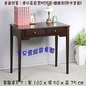 BuyJM 歐風實木雙抽屜書桌(兩色可選)-附玻璃電腦桌/工作桌100公分
