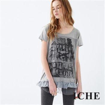 【ICHE 衣哲】疊層荷葉拼接印花上衣