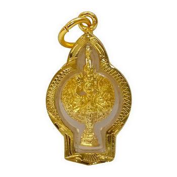 【十相自在】3.5公分 小佛像/法像 佛龕掛墜吊飾-金黃色(千眼千手觀音)