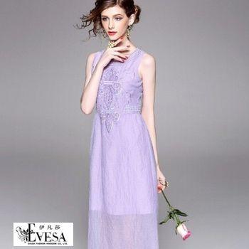 預購【伊凡莎時尚】法式清新渡假馬卡龍刺繡洋裝(S-XL)