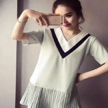 [協賀]韓版短袖條紋連衣裙