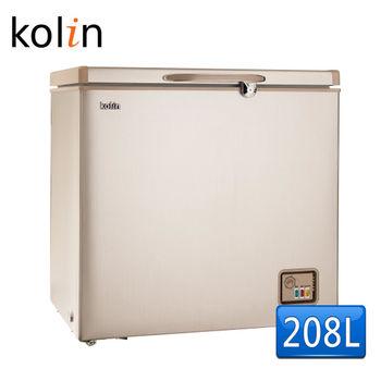 送多漾壺【歌林 Kolin】208L臥式冷凍櫃-拉絲金KR-120F01(含拆箱定位)