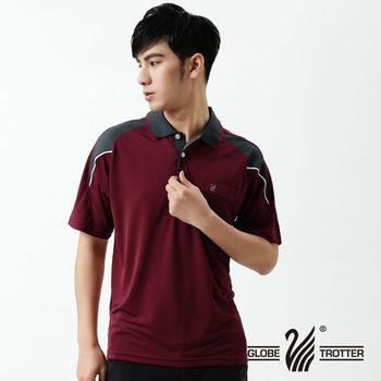 【遊遍天下】MIT台灣製男款吸濕排汗抗UV涼爽機能POLO衫(暗紅/灰)L-3L
