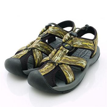 GOODYEAR戶外鞋-專業運動護趾涼鞋男款-綠灰