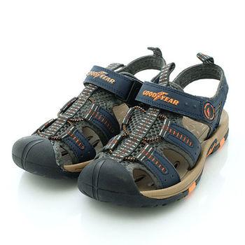 GOODYEAR戶外鞋-專業排水護趾運動涼鞋男款-藍棕