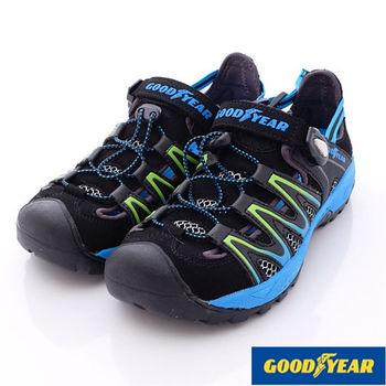 GOODYEAR-水陸兩用專業運動護趾涼鞋男款-黑藍