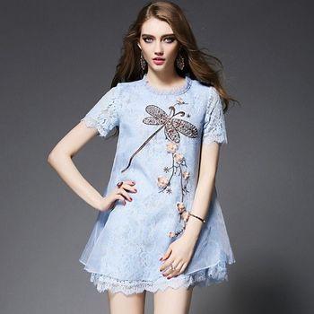 (現貨+預購 RN-girls)-歐美夏款重工亮片刺繡拼接蕾絲花邊領A字連身裙