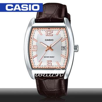 【CASIO 卡西歐】人氣首選_羅馬文酒桶型真皮_男錶(MTP-E107L)