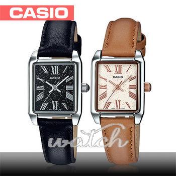 【CASIO 卡西歐】簡單時尚方形_羅馬數字_皮革女錶(LTP-TW101L)