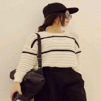 [協賀]鏤空罩衫條紋撞色針織衫