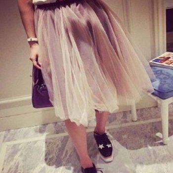 [協賀]鬆緊腰網紗半身裙蓬蓬裙