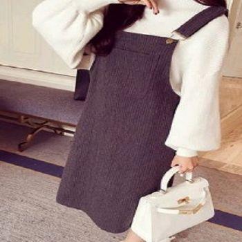 [協賀]顯瘦背帶裙口袋裝飾豎紋連衣裙