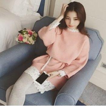 [協賀]韓版蕾絲連衣裙+針織毛衣連衣裙
