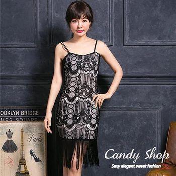 Candy小舖 春裝素色甜美氣質蕾絲休閒長裙