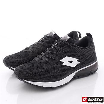 Lotto樂得-編織氣墊跑鞋款男款-黑