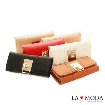 La Moda 美系風格黃金旋鈕扣大容量肩背手拿長夾皮夾 (共6色)