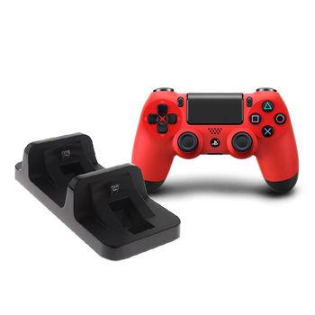 PS4 原廠手把(CUH-ZCT1T) 熔岩紅 + 副廠雙手把充電座 (DOBE)