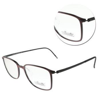 【Silhouette 詩樂】SPX全框暗紅黑色光學眼鏡-大版(SPX2881-51-6052)