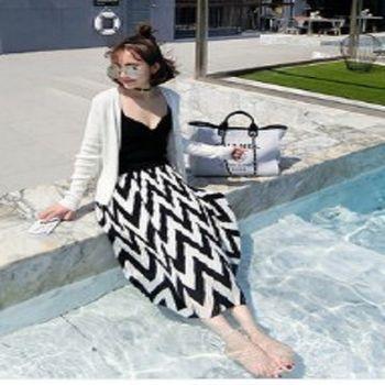 [協賀]波浪條紋壓皺高腰半身裙