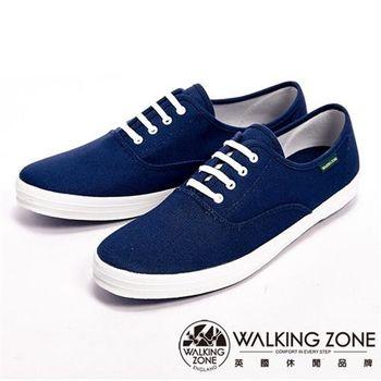 【WALKING ZONE】純棉帆布休閒男鞋-深藍