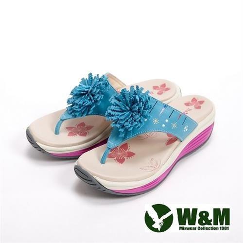 【W&M】FIT 鑽飾花造型健走族健塑鞋拖鞋女鞋-藍