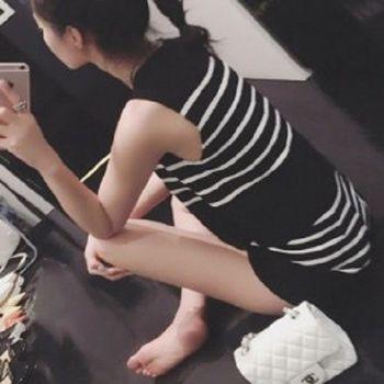 [協賀]針織條紋背心+條紋短褲子