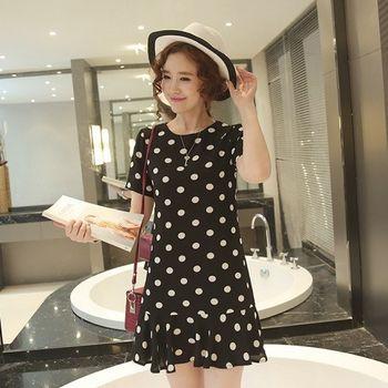 (現貨+預購 RN-girls)-歐美夏新款圓點雪紡修身顯瘦連身裙