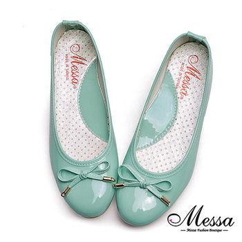 【Messa米莎專櫃女鞋】MIT糖果色蝴蝶結漆皮芭蕾娃娃鞋-綠色