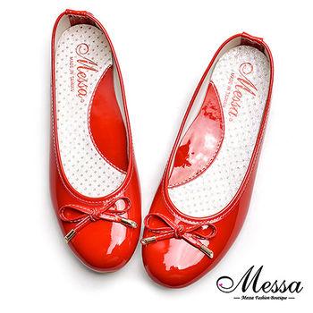 【Messa米莎專櫃女鞋】MIT糖果色蝴蝶結漆皮芭蕾娃娃鞋-紅色