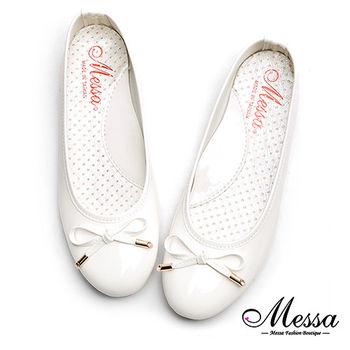 【Messa米莎專櫃女鞋】MIT糖果色蝴蝶結漆皮芭蕾娃娃鞋-白色