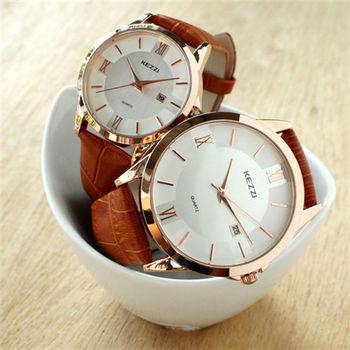 【KEZZI】大盤面羅馬數字鱷魚皮錶帶女錶-棕 FFQ-788