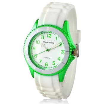 【Daniel Wang】炫光雙圈矽膠中性白色腕錶-青草綠