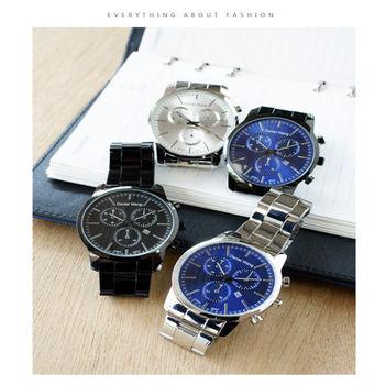【Daniel Wang】時尚大錶面三眼指針錶-黑 FFQ-3316