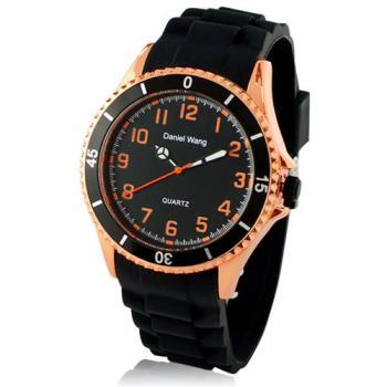 【Daniel Wang】霸氣雙圈大錶面中性黑色矽膠腕錶-玫瑰橘