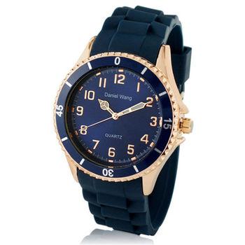 【Daniel Wang】霸氣雙圈大錶面中性藍色矽膠腕錶-鑽石藍
