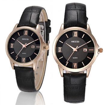 【KEZZI】大盤面羅馬數字鱷魚皮錶帶男錶-黑